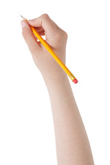 female teen hand holding pencil with eraser top