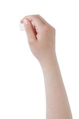 female teen hand holding eraser