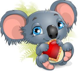 koala and heart