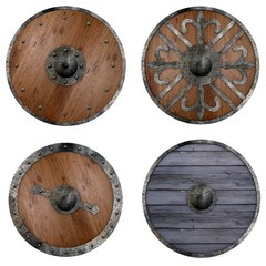 collection of 3d renders - shields