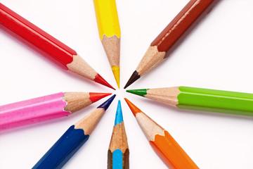 multicolor pencils in circle