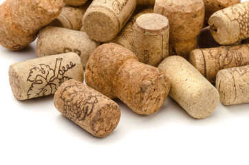 Close up of used assorted wine corks