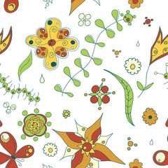 Seamless texture with flowers and butterflies.