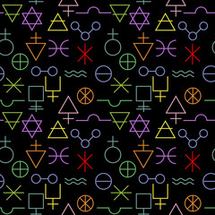 Multicolored alchemy signs seamless pattern
