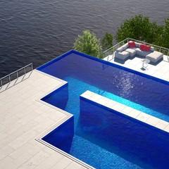 Large Pool near the Ocean