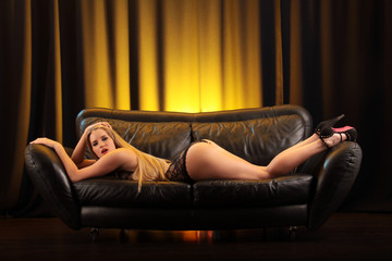 perfect sexy woman on sofa