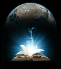 Glowing book with earth