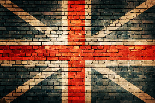 United Kingdom flag on old brick wall