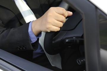 Business Man Driving A Card