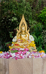 Buddha statue covered with flower petals after being cleansed an