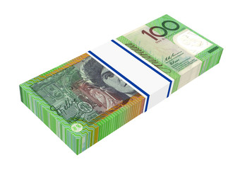 Australian dollar isolated on white. 3D photo rendering.