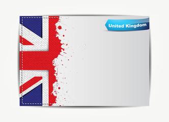 Stitched United Kingdom flag with grunge paper frame