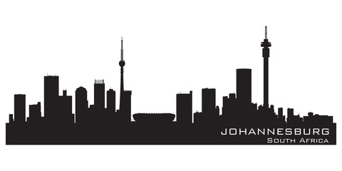 Fototapete - Johannesburg South Africa skyline Detailed vector silhouette