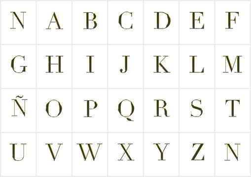 Alfabeto en oro.