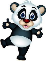 vector illustration of cute panda cartoon posing