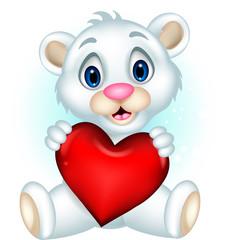 cute baby polar bear posing with heart love