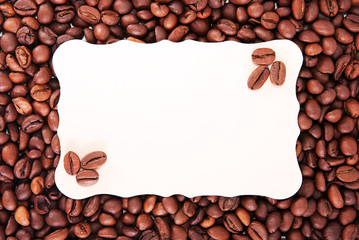 coffee beans and the paper sheet for notes