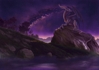 Wall Murals Dragons Crackling Rock