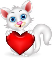 cute fluffy white Cat holding heart love