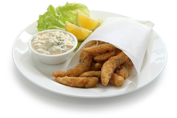 homemade fried fish fingers with tartar sauce