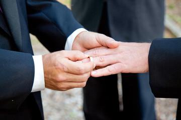 Gay Wedding Exchanging Rings