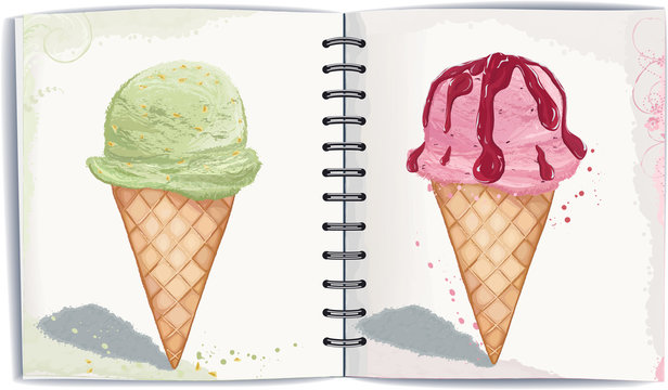 Two waffle cones with ice cream in watercolor technique.