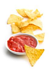 nachos and tomato dip