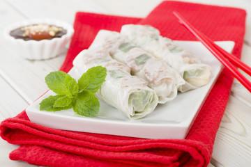 Bo Bia - Vietnamese fresh summer rolls with Chinese sausage