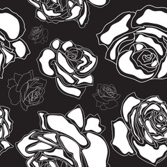 Seamless pattern, white roses on a black background