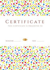 Certificate / Diploma template. Colorful background