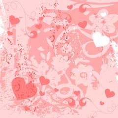 rosa Herzen grunge vektor hintergrund