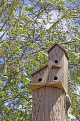 Handmade triple wooden birdhouse in green trees