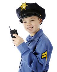 Walkie Talkie Cop Closeup