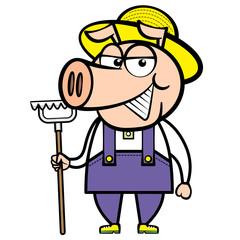 cartoon pig farmer with rake