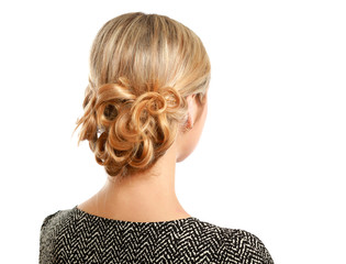 Portrait of young  woman with creative elegant hairstyle