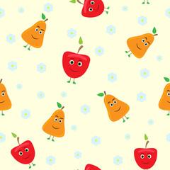 cartoon fruits seamless pattern