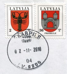 "Canceled latvian stamps ""Auce"" and ""Priekule"""