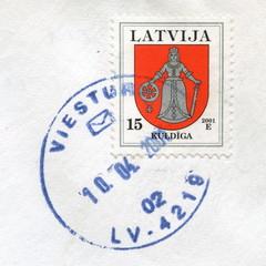 """Canceled latvian stamp """"Kuldiga"""""""