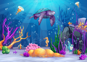 Illustration of the underwater world with fish and turtle.