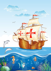 Children's illustration of the water world with a sailing ship
