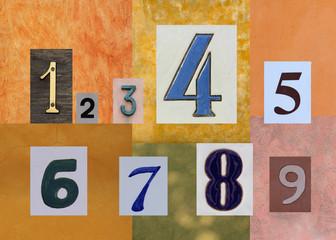 Numeri su sfondi pastello