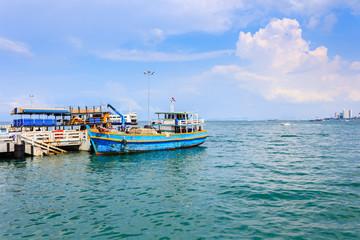 Harbor  and boat at Pattaya city, Thailand