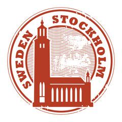 Grunge rubber stamp with words Stockholm, Sweden inside, vector