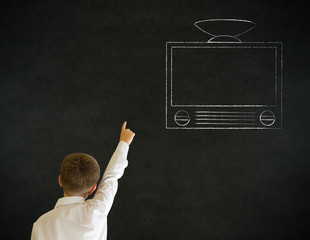 Hand up answer boy business man with chalk tv television