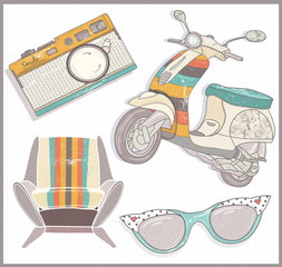 Retro elements set. Armchair, scooter,camera and sunglasses