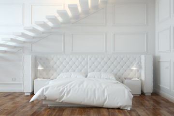 White Bedroom Interior With Stairs (Front View)