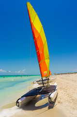 Colorful catamaran on Varadero beach in Cuba