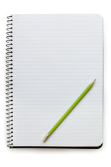 Notepad with Pencil Isolated