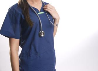 Female Torso Wears Scrubs Nurse Working Healthcare Industry