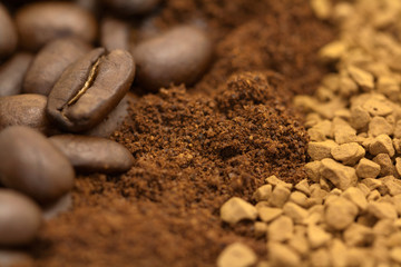 Coffee beans, ground coffee and freeze dry